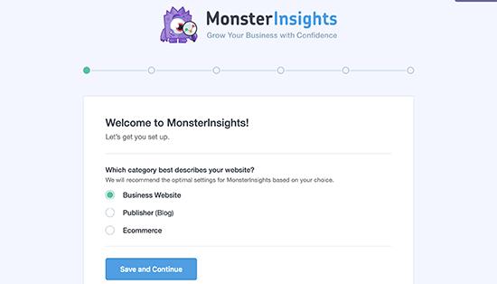 Мастер установки MonsterInsights