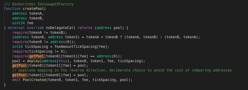 Uniswap v3: Code block for create pool function