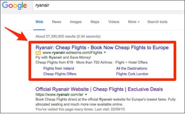 Google search Ad signature