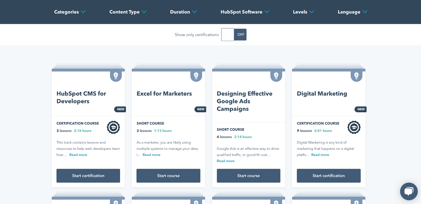HubSpot Academy content for career and learning the tool
