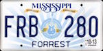 Image of the Mississippi state license.