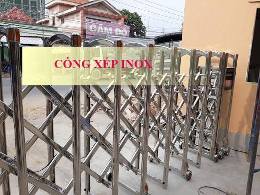 Cổng xếp tự động inox