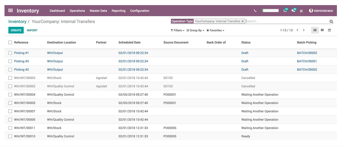 Screenshot of Odoo Warehouse Management Systems.