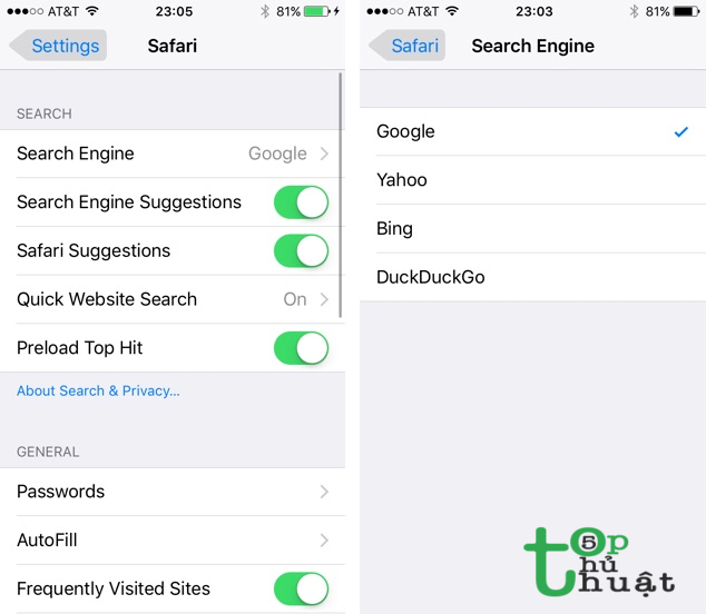 Thay đổi công cụ tìm kiếm mặc định