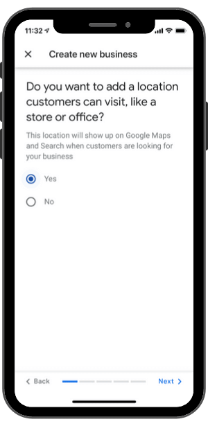Google My Business-Step 2-Add location customers can visit?
