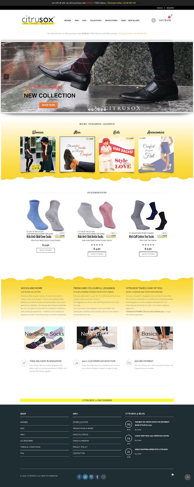 Citrusox ecommerce website design