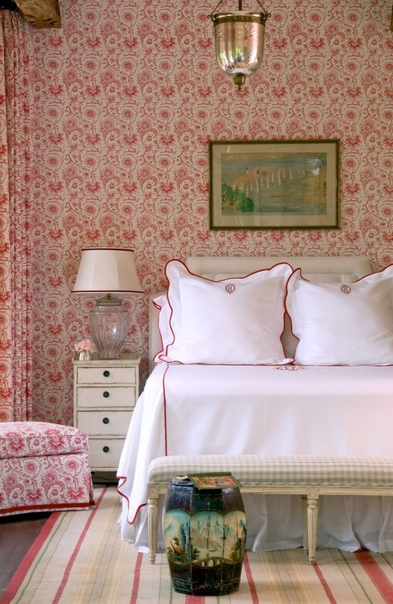 Pink Toile Wallpaper, Curtain and Chair in Bedroom