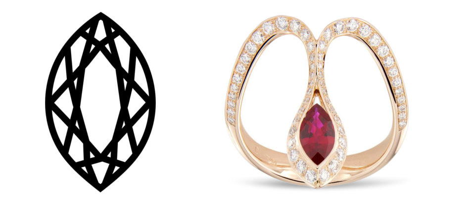 Baenteli Royale marquise-cut ruby and diamond ring