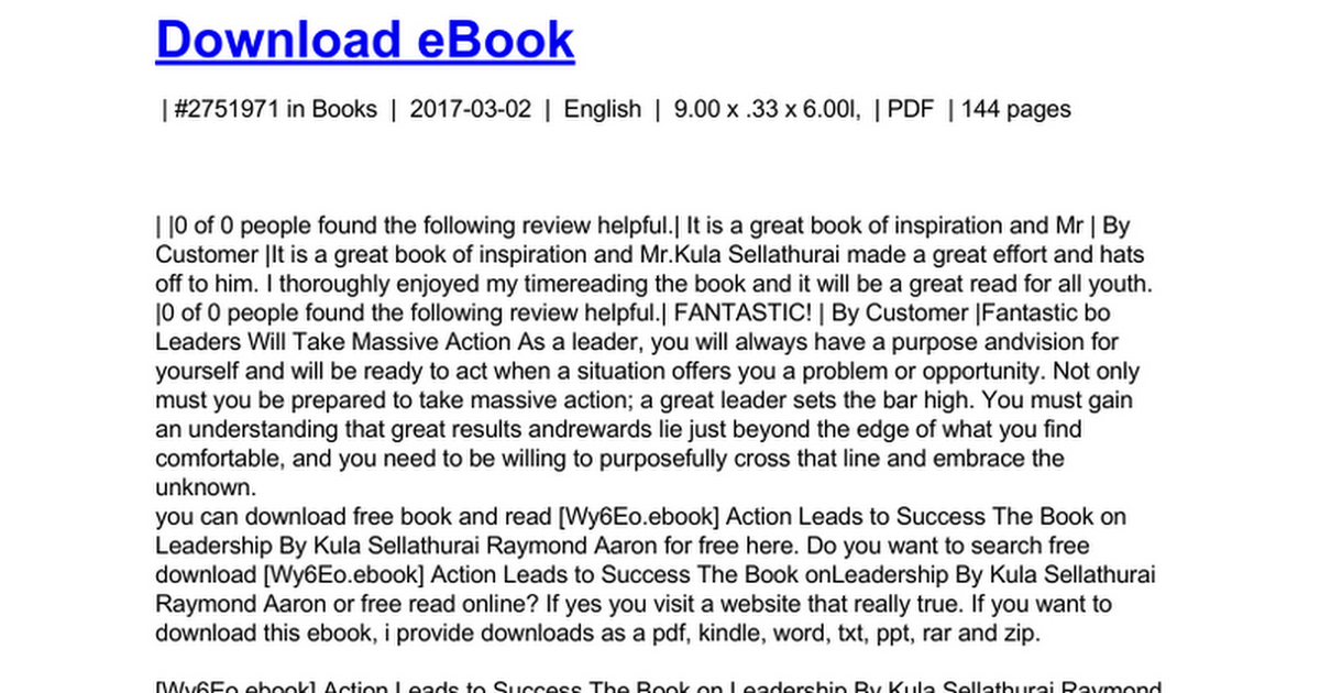 Action Leads To Success The Book On Leadershipc Google Drive