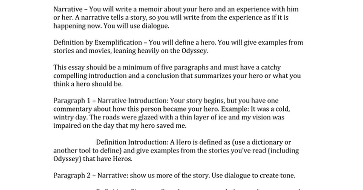 my hero narrativedocx google docs - Narrative Essay With Dialogue Example