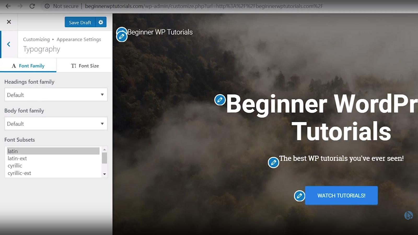 font settings wordpress tutorial for beginners