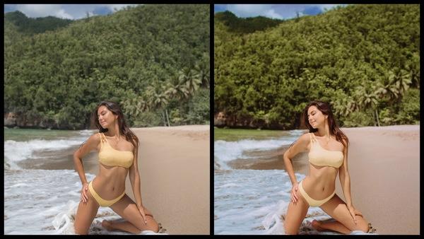 Montagem de duas fotos usando a mesma mulher posando na praia. Foto 1 sem edições e foto 2 usando o Filtro Clean