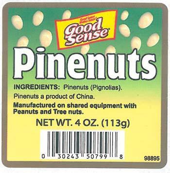 Front Label, Good Sense Pinenuts, NET WT. 4 OZ. (113g), Tub
