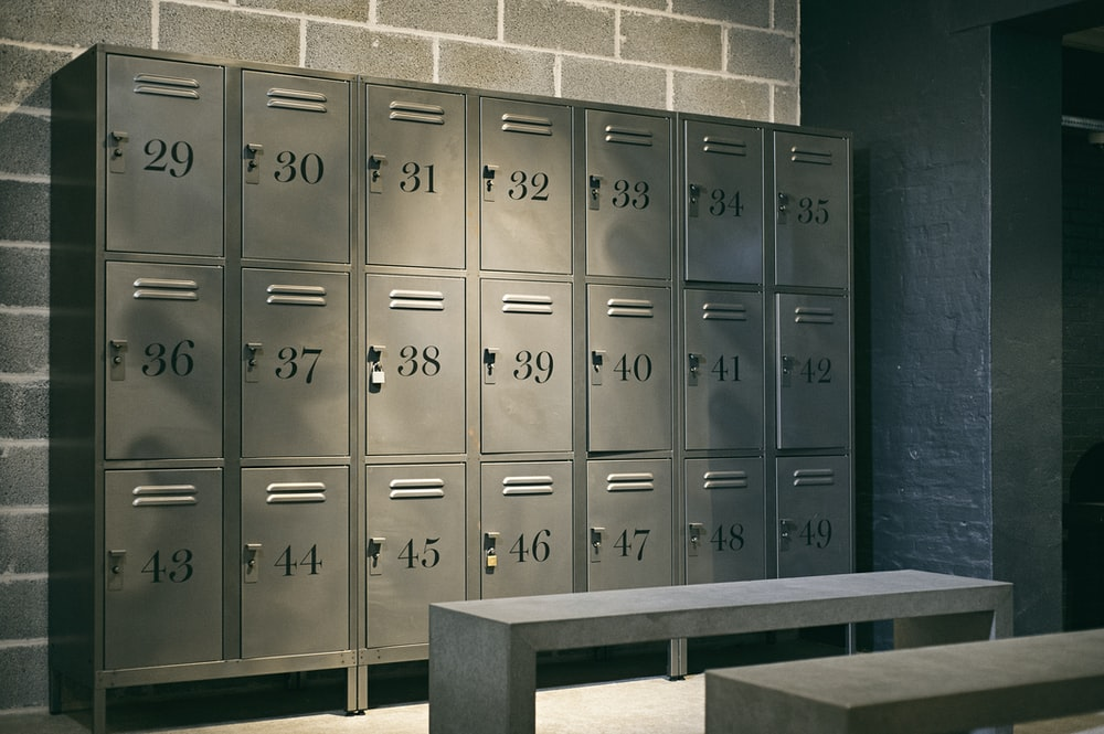 gray steel lockers inside the room