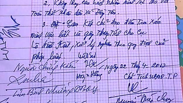 Cam kết viết tay của ông Nguyễn Đức Chung hôm 22/42017