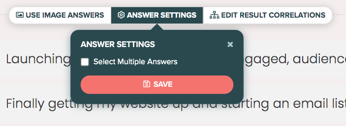 answer settings with select multiple answers