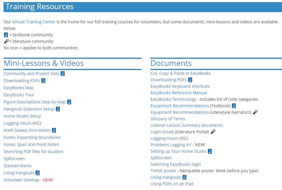 Image of Training Resources section links
