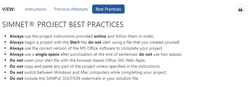 2019/365 project assignment Best Practices guide tab