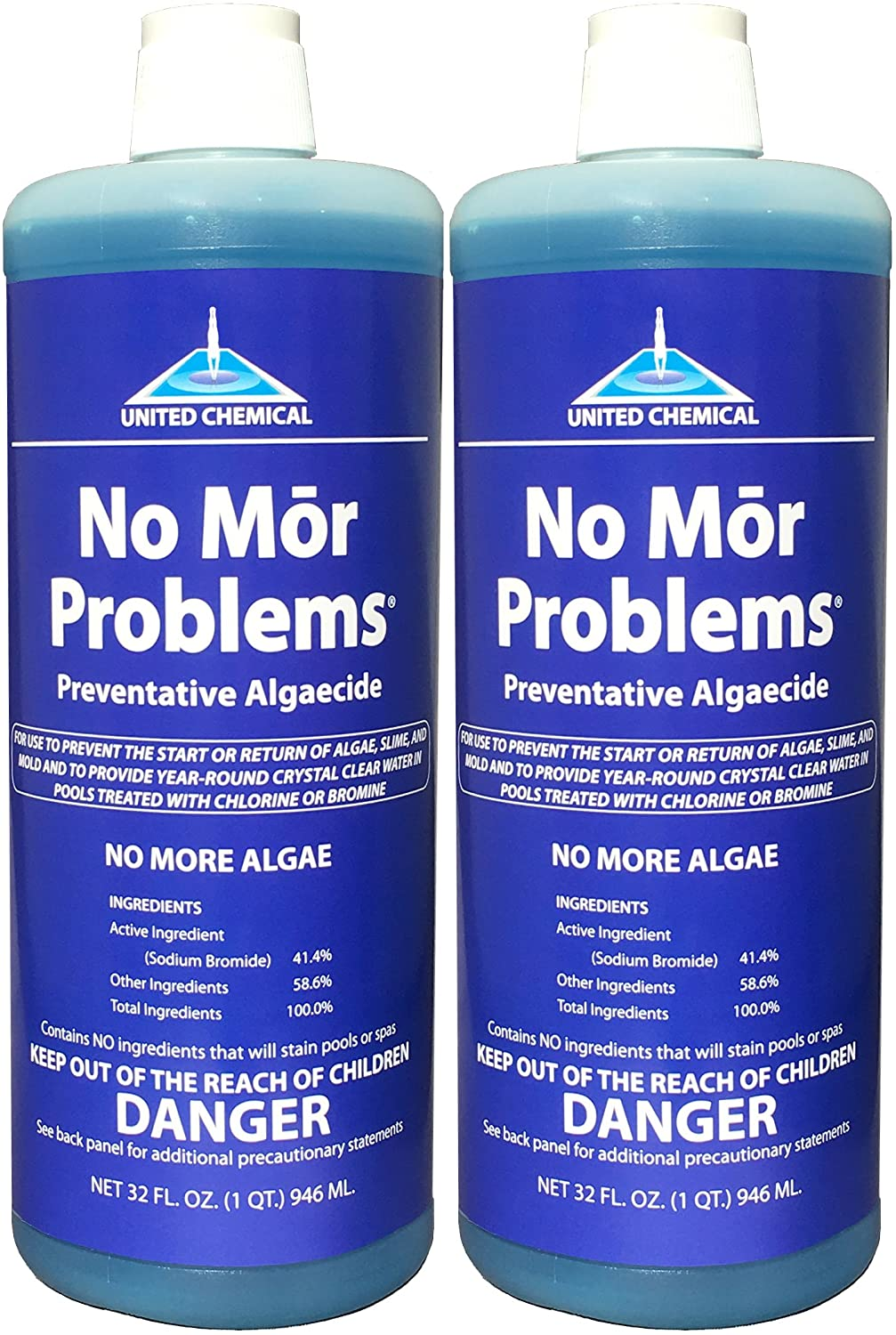 two blue bottles of No Mor Problems algaecide for swimming pools