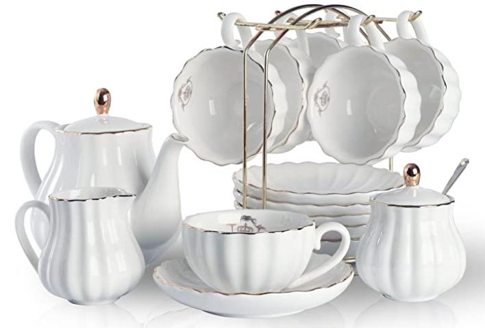 simple white porcelain tea set