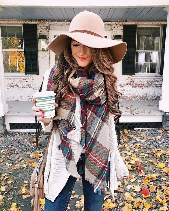 Fall layers outfit - plaid blanket scarf and tan floppy hat