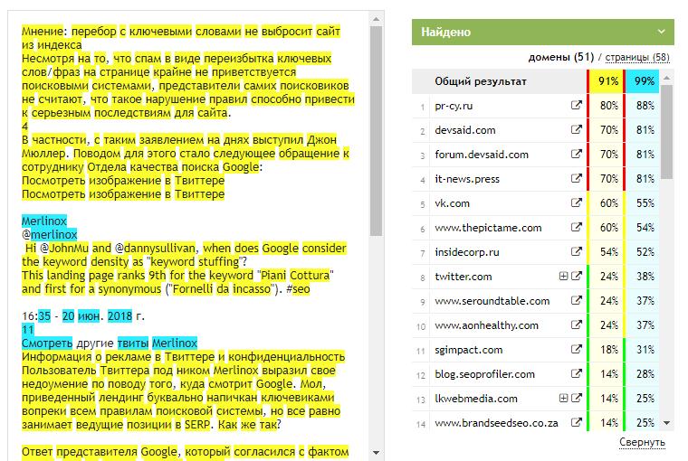 анализ контента в сервисе