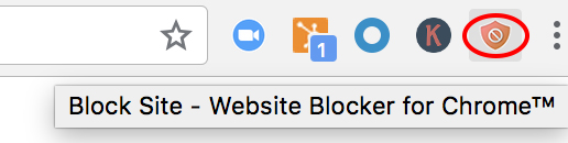 Block Site extension icon in Chrome browser