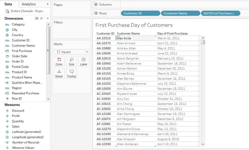 LOD in Tableau Use Case 4 - Customer Second Purchase Analysis 32