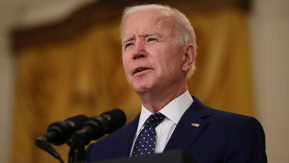U.S. President Joe Biden announces new economic sanctions against the Russia government from the East Room of the White House on April 15, 2021 in Washington, DC.