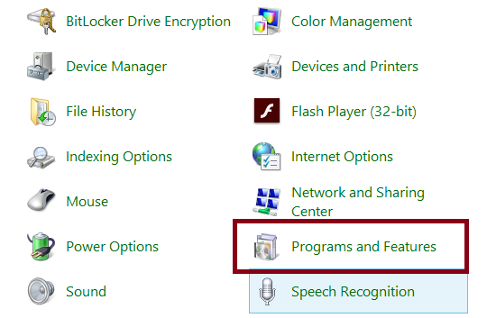 Uninstall a program from Control Panel