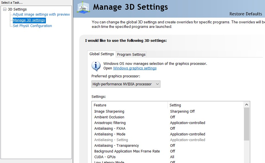 Manage 3D settings option in the Nvidia Control Panel