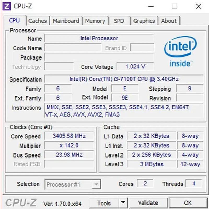 Các thông số của CPU sẽ được hiển thị