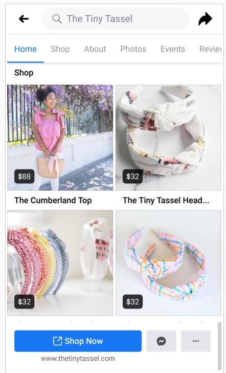 The Tiny Tassel Facebook Shop for Social Ecommerce Trends Screenshot