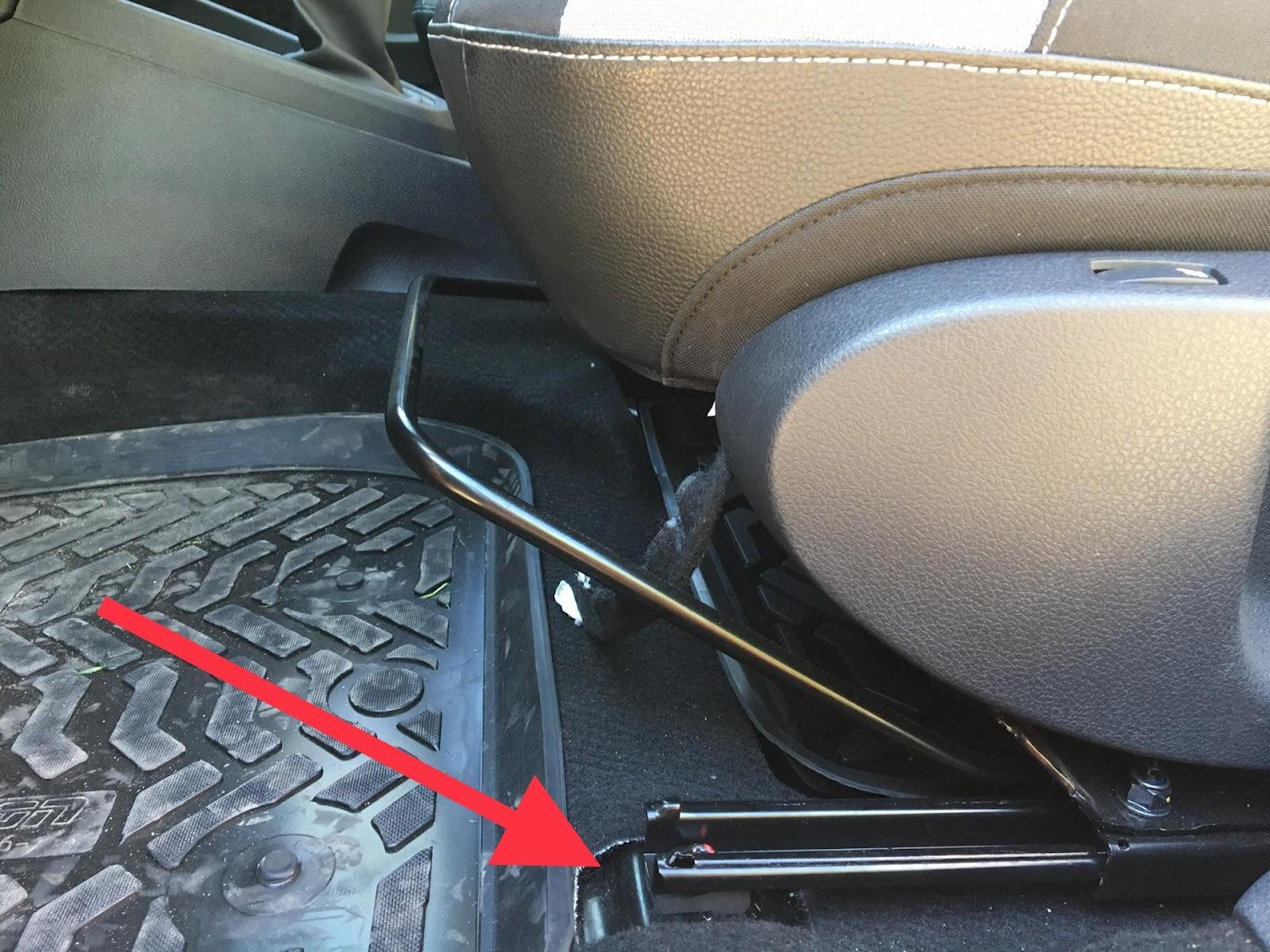 Место креплений переднего кресла Lada Vesta