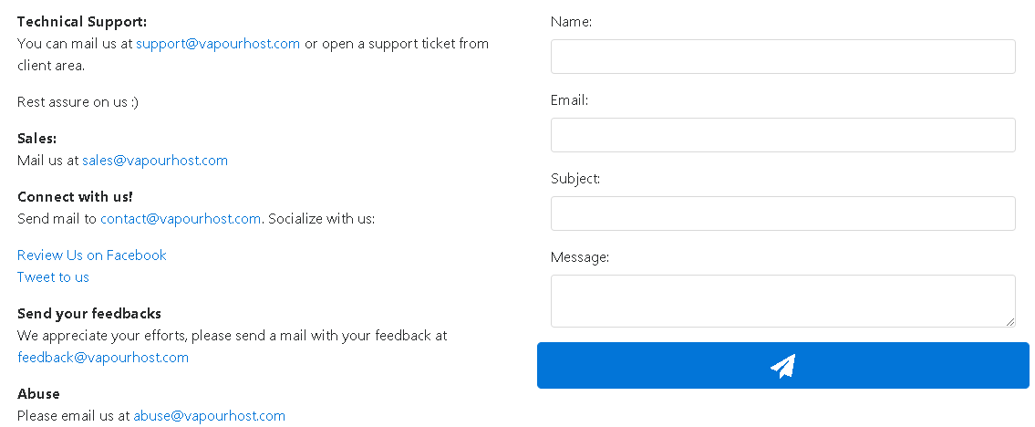 Vapourhost E-mail Support