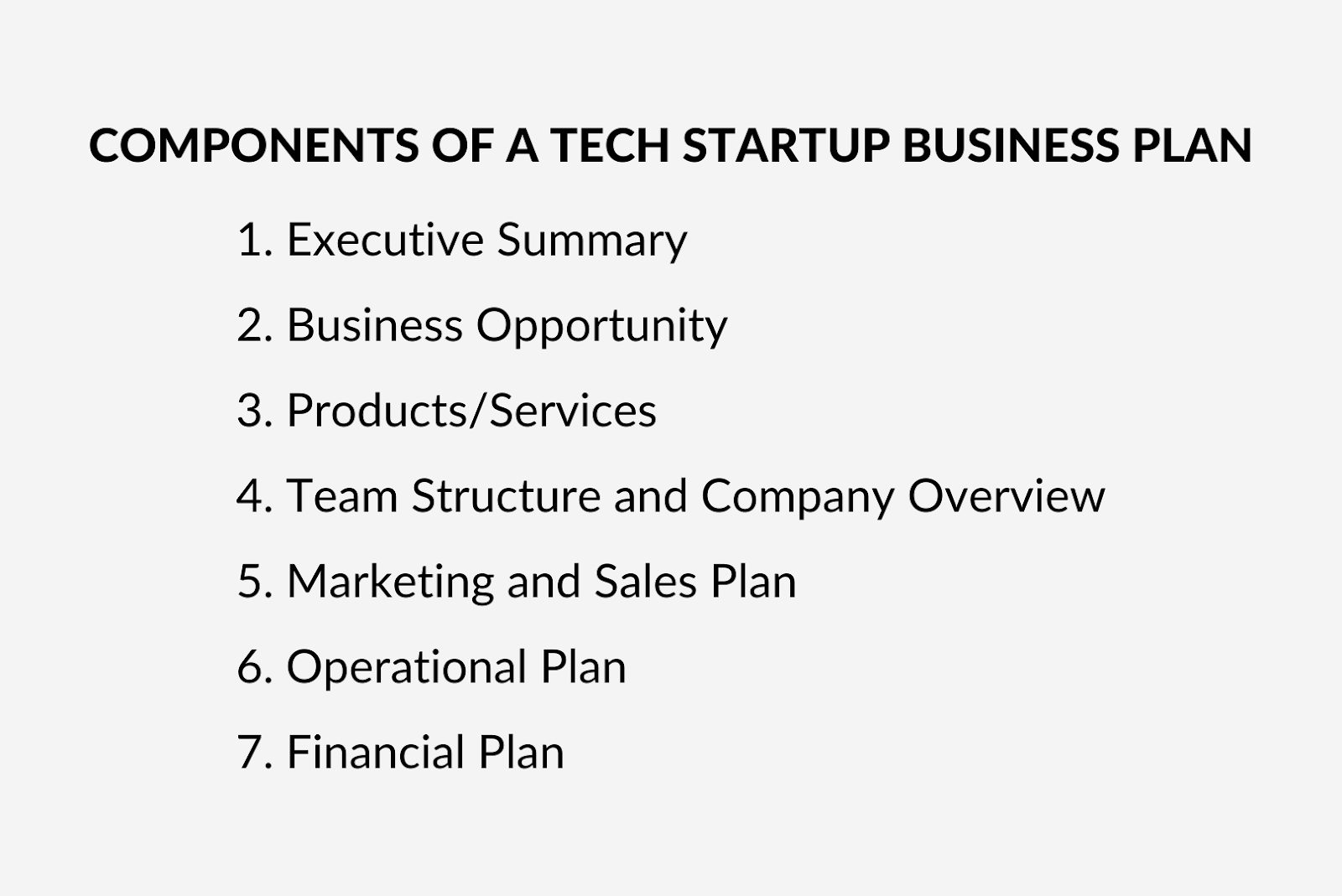 Components of a tech startup business plan
