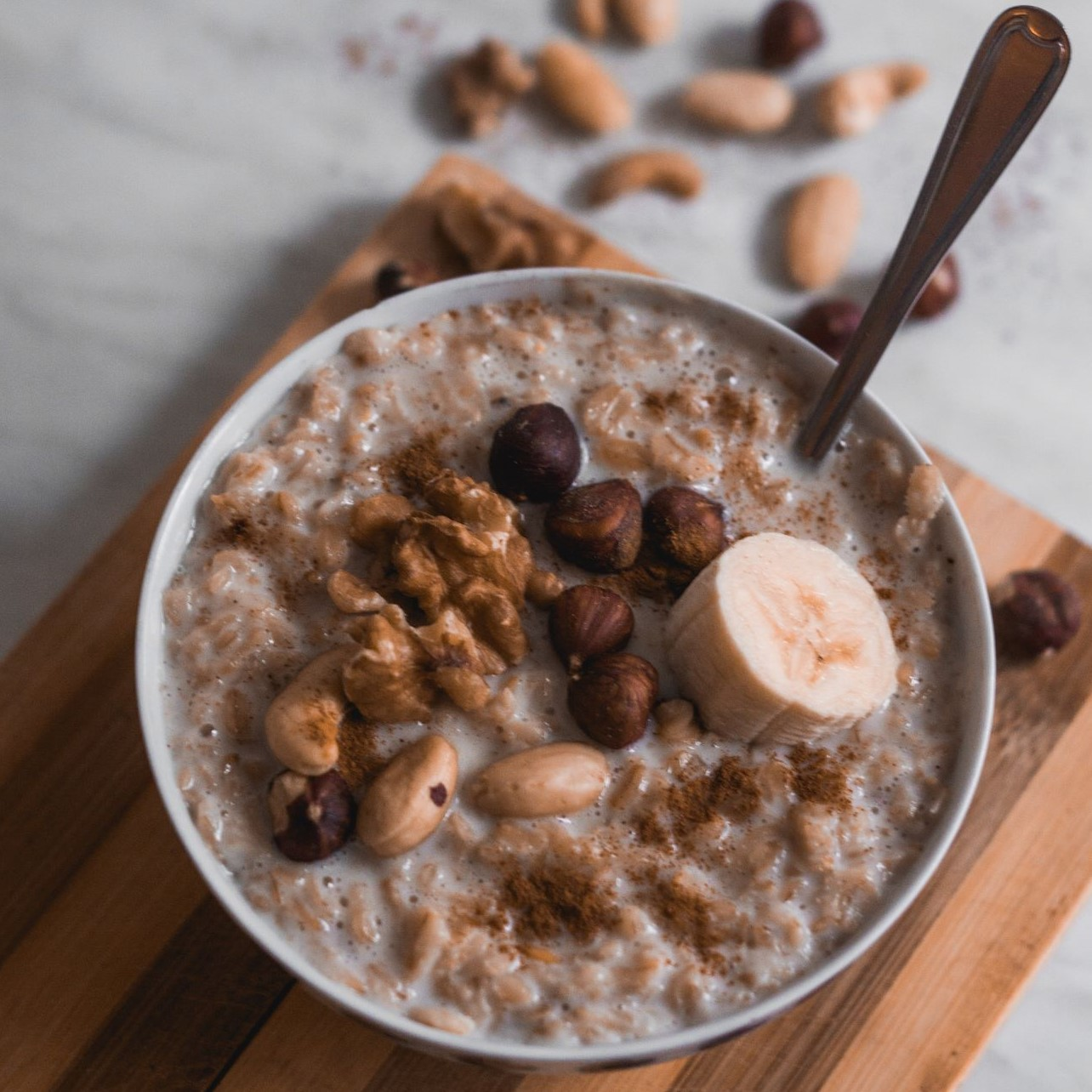 A bowl of oatmeal with nuts is good for your heart