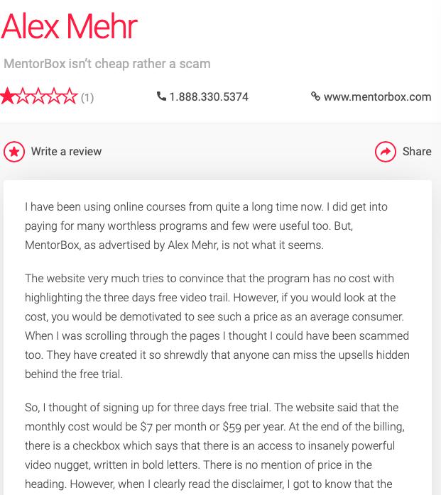 Alex Mehr review