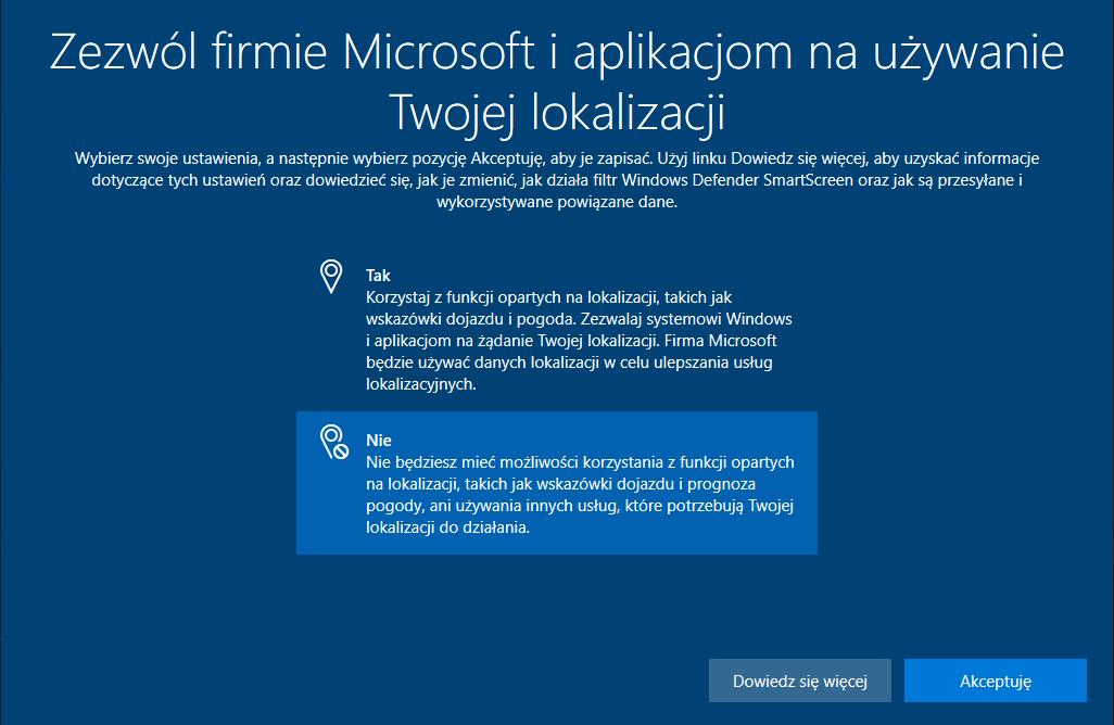 Windows lokalizacja