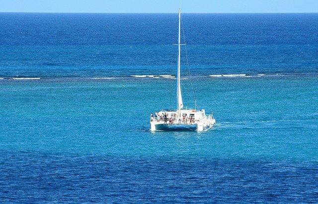 This photo shows a luxury sailing catamaran yacht.