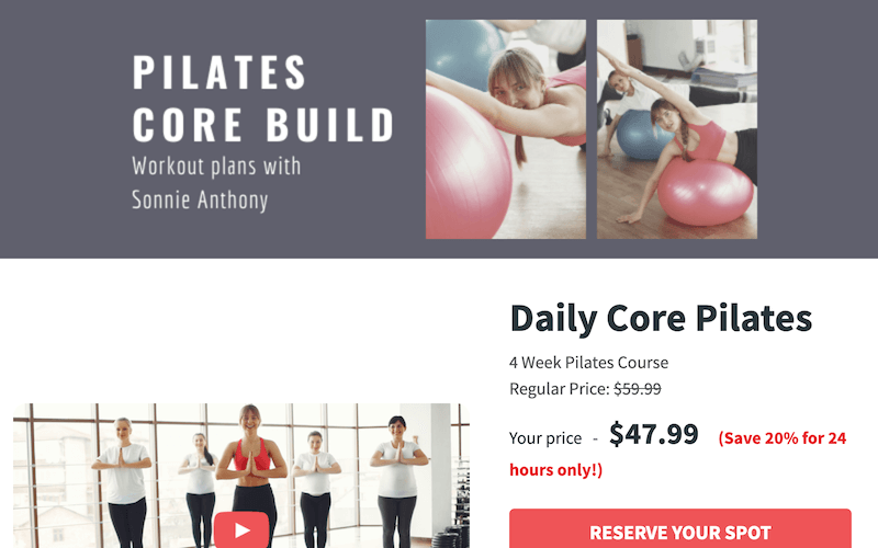 landing page example selling a course