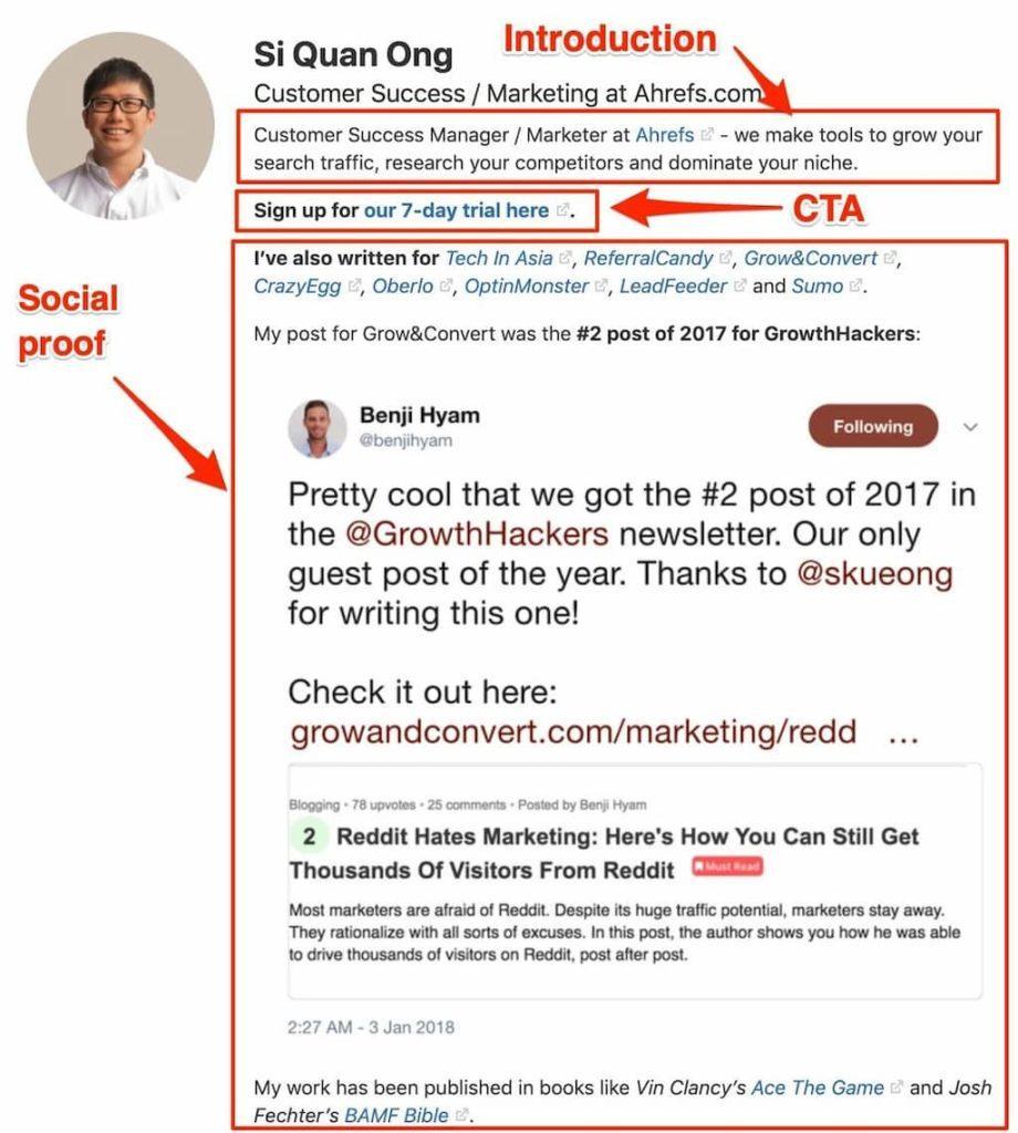 Quora account bio