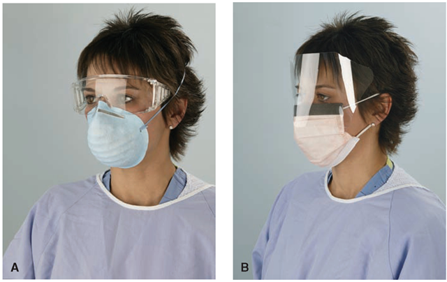 Mask and eye protection. The nurse must wear gloves if there is any possibility of exposure to blood or body fluids or if he or she has a cut or nonintact skin. Other personal protective equipment (PPE) may also be needed. This nurse is wearing a protective gown over her regular clothing. (A) Goggles are put on after gown, gloves, and mask. (B) A mask with a solid eye shield.