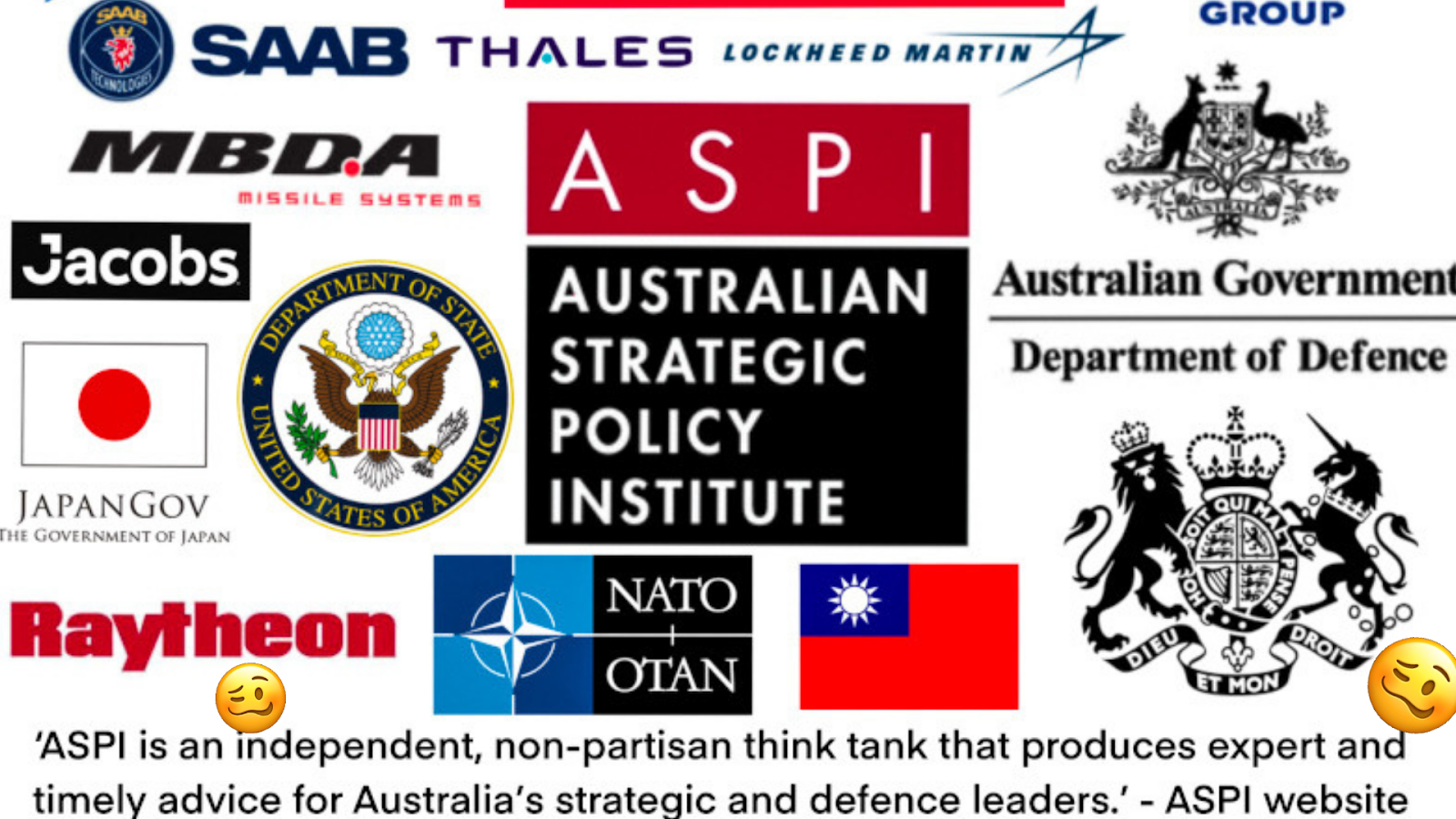 Just some of the donors and funders of ASPI
