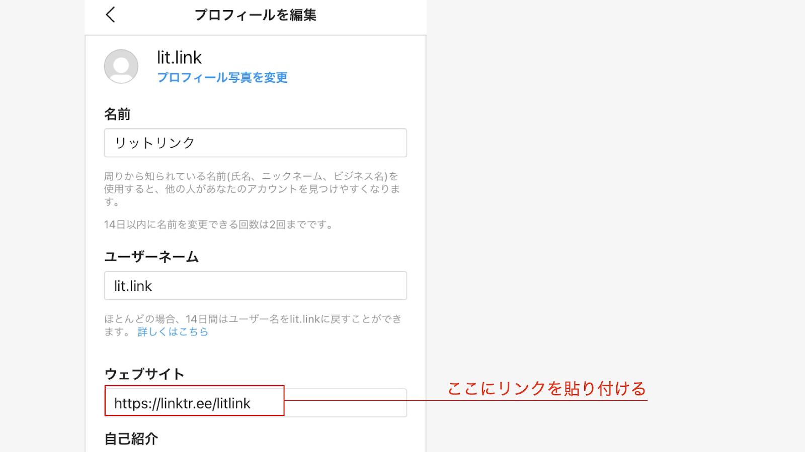 ウェブサイト URL 貼り付け