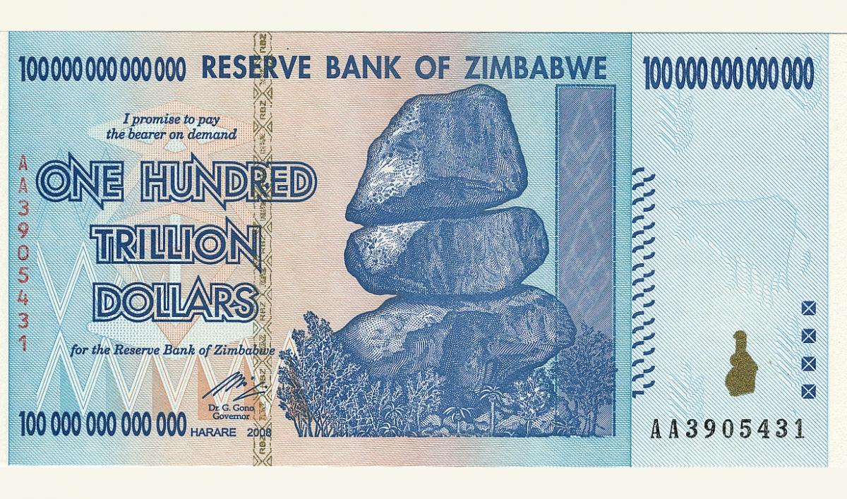 nota de 100 trilhões de dolares de zimbábue