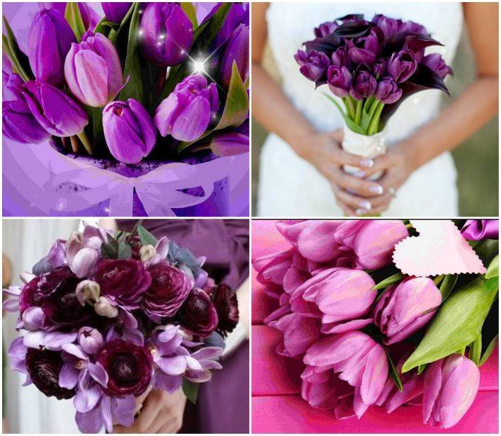 Букеты из фиолетовых тюльпанов