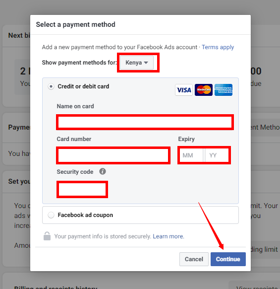 adding credit or debit card to facebook