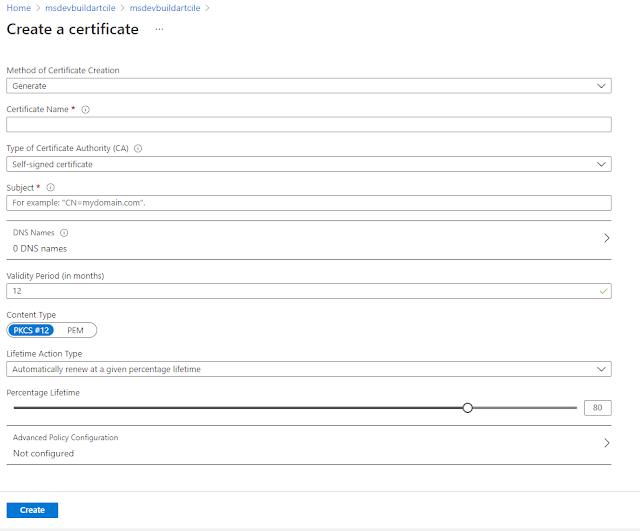 Azure portal: Create a key vault