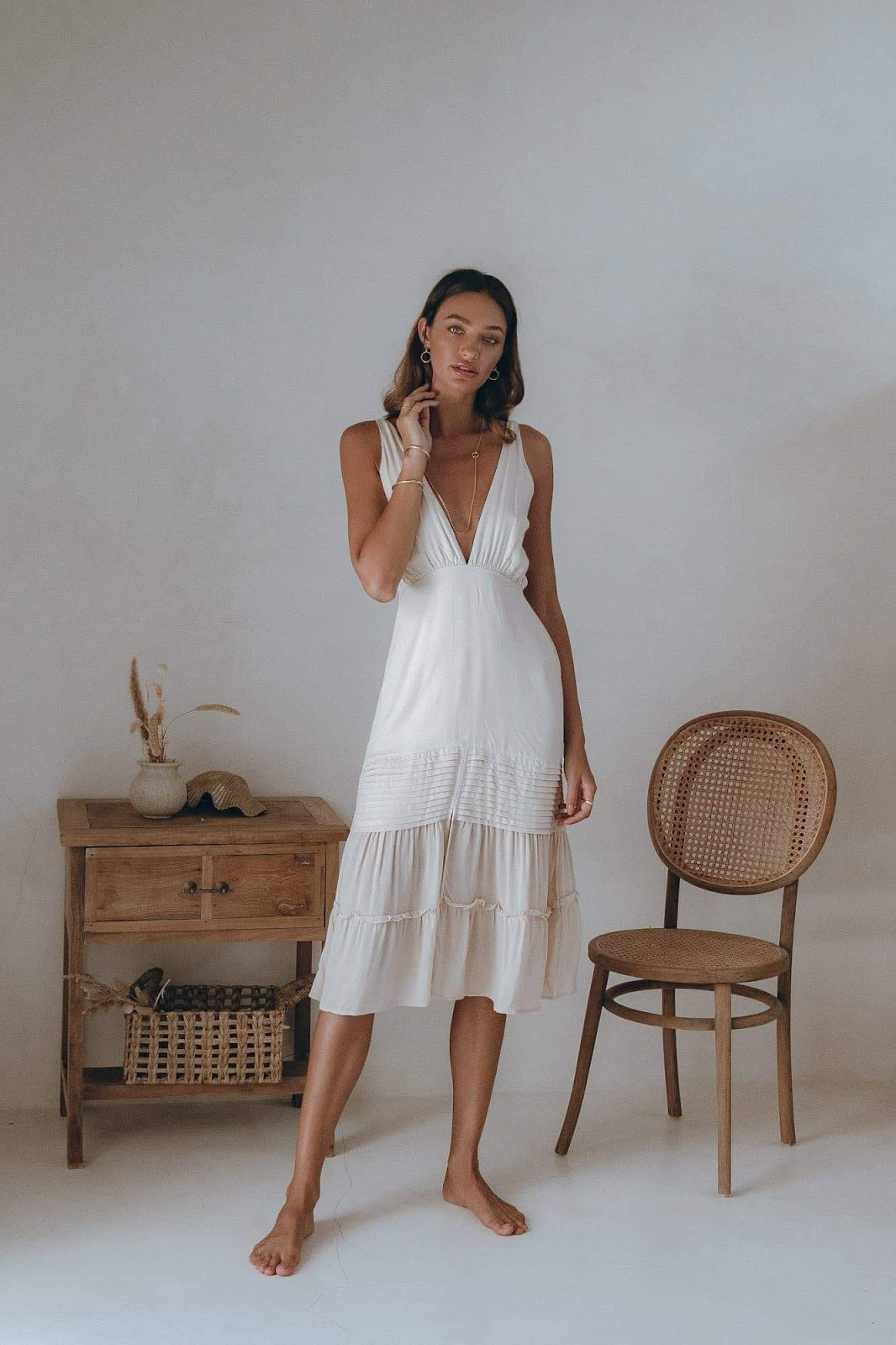 Lauren Midi Dress in Champagne